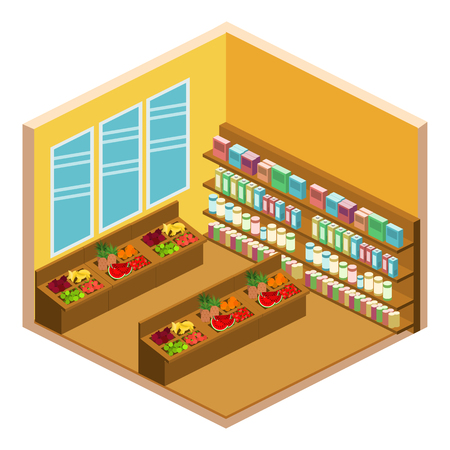 shopping center interior: isometric shop. Set of objects for the store