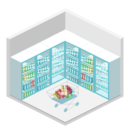 realictic: isometric shop. Set of objects for the store