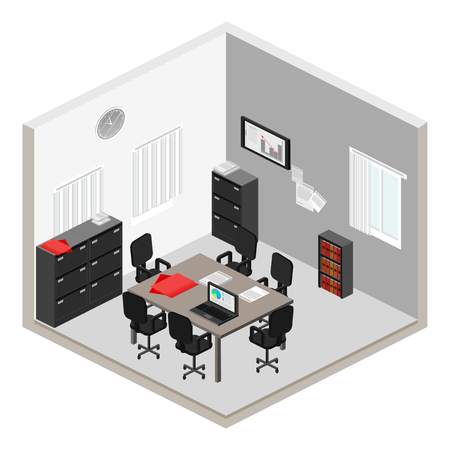 detective agency: Flat 3d isometric abstract office floor interior departments concept vector. Illustration