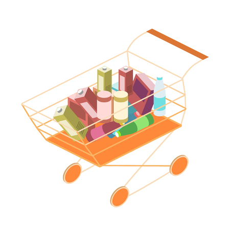 Isometric basket with food. Set of objects for the store Illustration