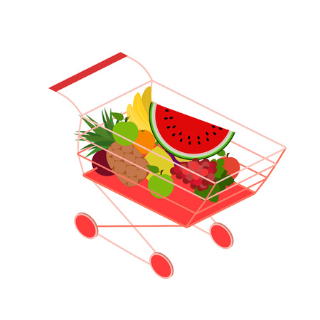 realictic: Isometric basket with food. Set of objects for the store Illustration