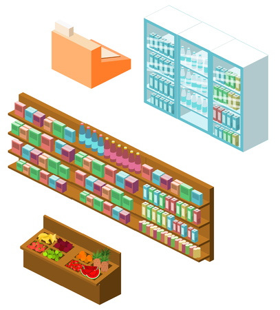 shopping center interior: isometric items for shop. Set of objects for the store Illustration