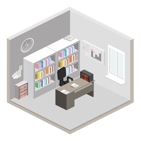 detective agency: Flat 3d isometric abstract office floor interior departments concept vector