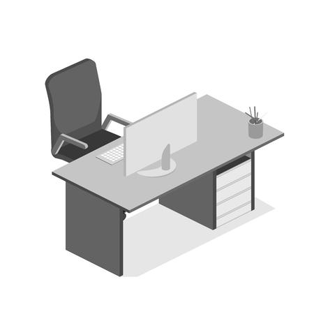 フラット等尺性のデスク。ワークスペースの 3 D イラストレーション