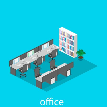 detective agency: Flat 3d isometric abstract office floor interior departments concept vector. illustration of office Illustration