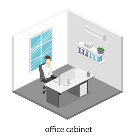 directors: isometric interior of directors office. Flat 3D illustration of cabinet.