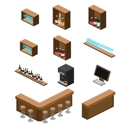 alcoholic drinks: Isometric 3D flat interior of bar or pub. The chairs stand around the bar. alcoholic drinks on the shelves