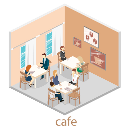restaurant interior design: Isometric interior of coffee shop. flat 3D isometric design interior cafe or restaurant. People sit at tables and eat. Concept illustration of the room.