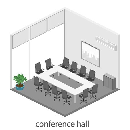 boardroom: Business meeting in an office Business presentation meeting in an office around a table. Isometric flat 3D interior Illustration