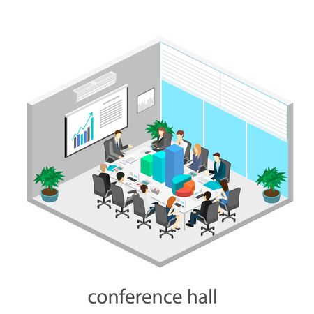 Business meeting in an office Business presentation meeting in an office around a table. Isometric flat 3D interior Vectores