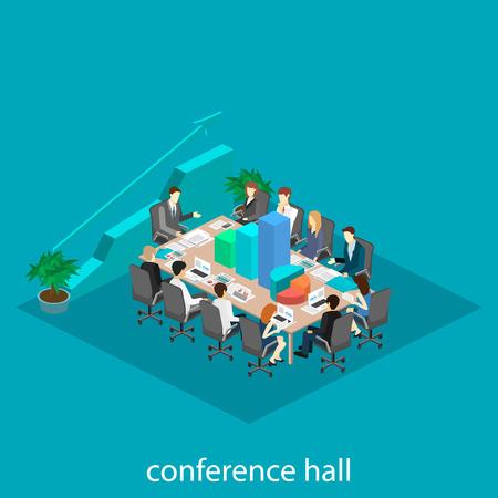 Business meeting in an office Business presentation meeting in an office around a table. Isometric flat 3D interior Çizim