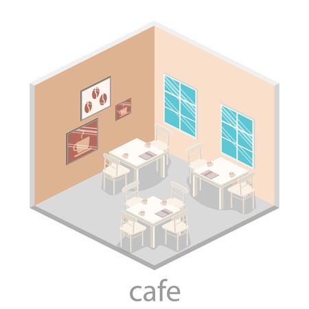 restaurant interior design: Isometric interior of coffee shop. flat 3D isometric design interior cafe or restaurant. Concept illustration of the room.