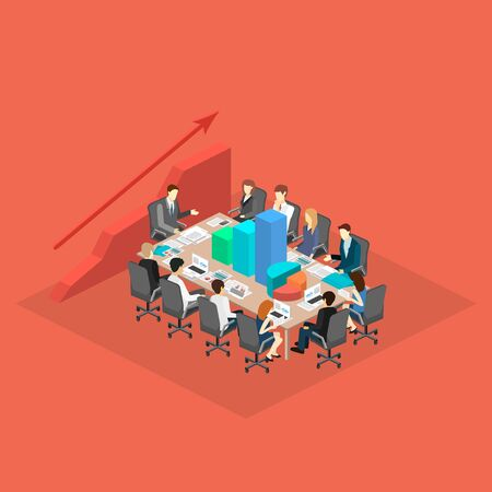 director chair: Business meeting in an office Business presentation meeting in an office around a table. Isometric flat 3D interior Illustration