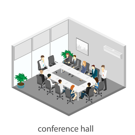 ceo: Business meeting in an office Business presentation meeting in an office around a table. Isometric flat 3D interior Illustration