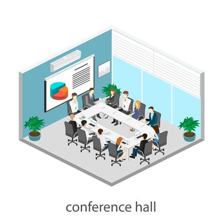 Reunión de negocios en una reunión de presentación de la oficina de negocios en una oficina alrededor de una mesa. 3D interior plana isométrica