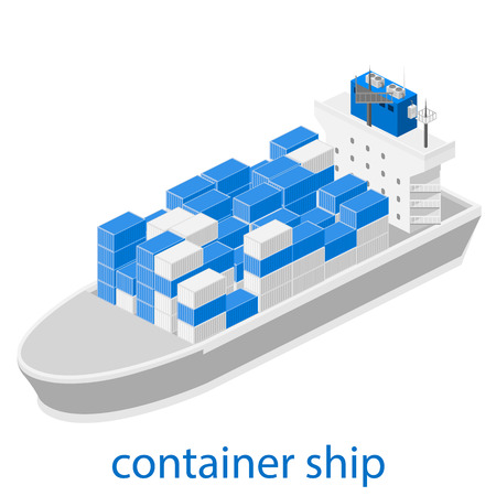 transporting: Isometric vector illustration of two River Cargo Boats traveling on water. Larger boat is transporting various size cargo containers.