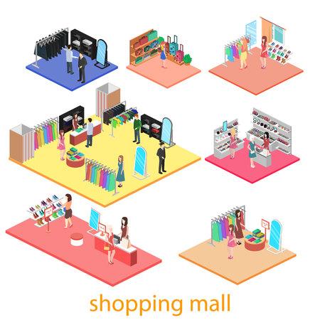 isometrische Innenraum des Einkaufszentrums. Flachen 3D-Vektor-Illustration.