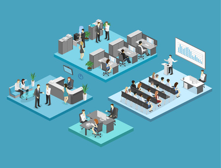 ceo office: sometric flat 3d abstract office floor interior departments concept vector. conference hall, offices, workplaces, director of the office interior Illustration