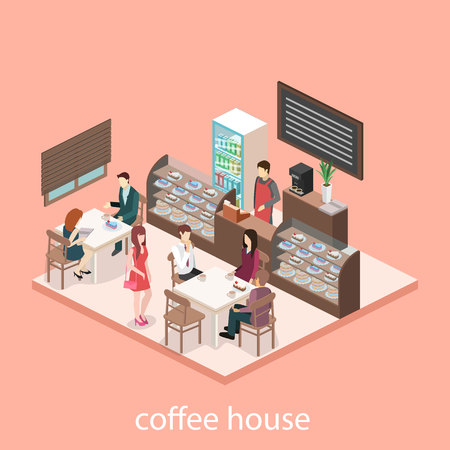 sweetshop: Isometric interior of sweet-shop. People sit at the table and eating. Flat 3D illustartion Illustration