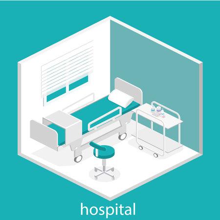 healthcare facility: Isometric flat interior of hospital room. Flat 3D illustration Illustration