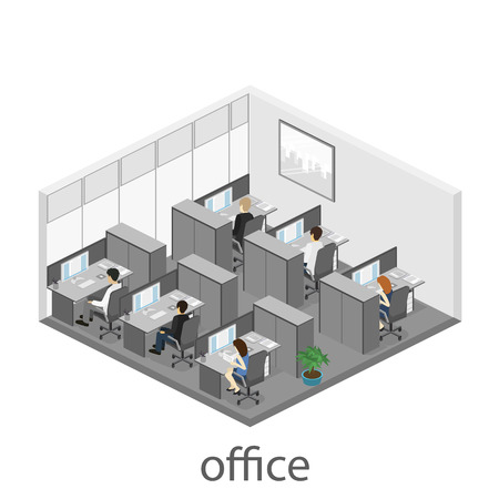 Flat 3d isometric abstract office floor interior departments concept vector. interior of room