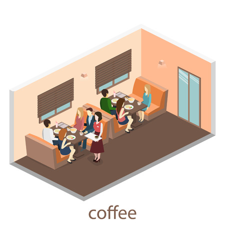 food shop: Isometric interior of coffee shop. flat 3D isometric design interior cafe or restaurant. People sit at tables and eat. Concept illustration of the room.