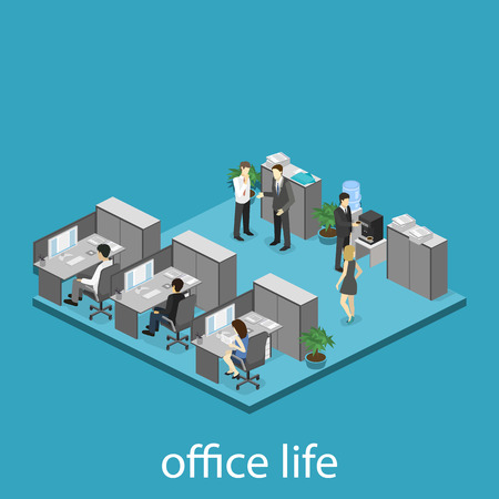 ceo office: Flat 3d isometric abstract office floor interior departments concept vector. interior of room