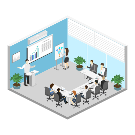 Business meeting in an office Business presentation meeting in an office around a table. Isometric flat 3D interior 向量圖像