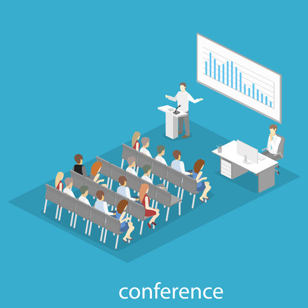 speakers: Business meeting in an office Business presentation meeting in conference hall. People listen to speakers. Flat 3D illustration.
