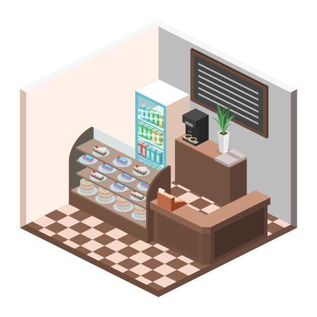 sweetshop: Isometric interior of sweet-shop. Flat 3D illustartion Illustration