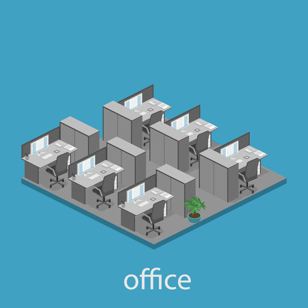 waiting room: Flat 3d isometric abstract office floor interior departments concept vector. interior of room