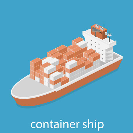 water carrier: Isometric vector illustration of two River Cargo Boats traveling on water. Larger boat is transporting various size cargo containers.