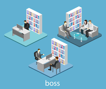 isometric interior of directors office. Flat 3D illustration of cabinet.