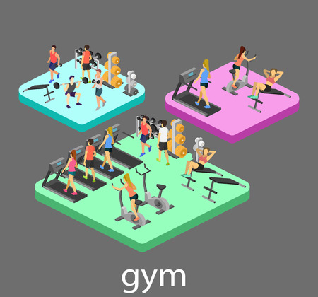 Isometric interior of gym. People involved in sports. Flat 3D vector illustration.