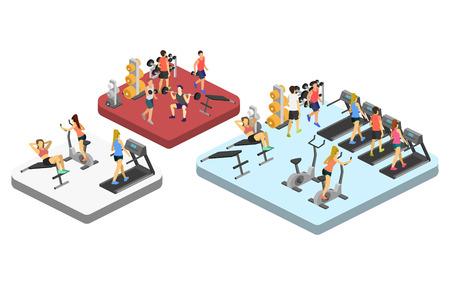 Isometrische interieur van de sportschool. Mensen die betrokken zijn in de sport. Flat 3D-vector illustratie.