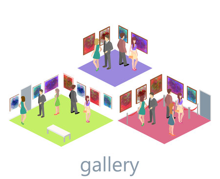 picture gallery: Isometric interior of picture gallery. Flat 3D vector illustration.
