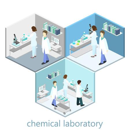 Isometric interior of science laboratory. Flat 3D vector illustration.