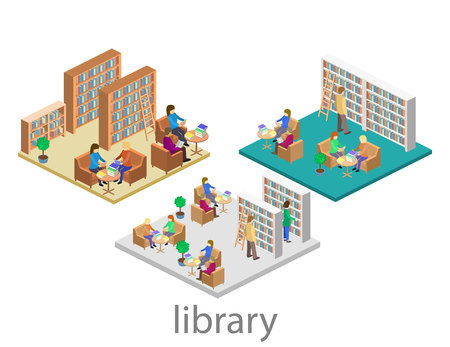 isometric interior of library. Flat 3D vector illustration.