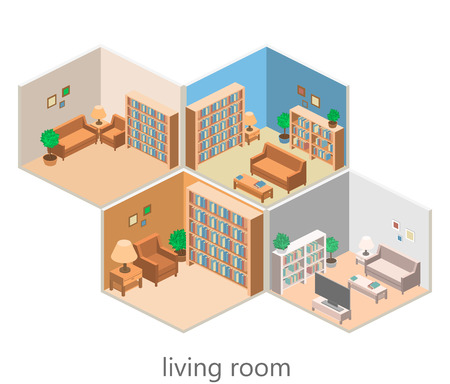 isometric interior of a living room. Flat 3D vector illustration Vectores
