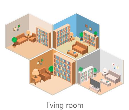 isometric interior of a living room. Flat 3D vector illustration 向量圖像