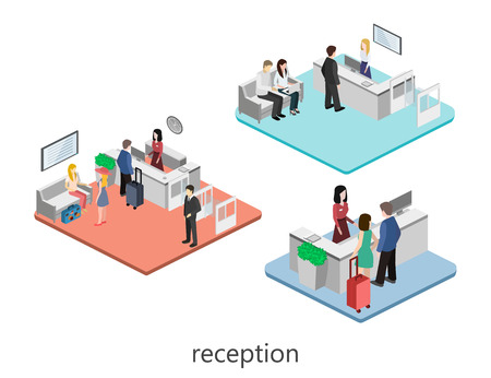 Isometric interior of reception. Flat 3D vector illustration