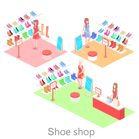 building regulations: Isometric interior shoe shop. Flat 3D vector illustration