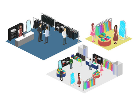 Isometric interior of shoping mall. Flat 3D vector illustration.