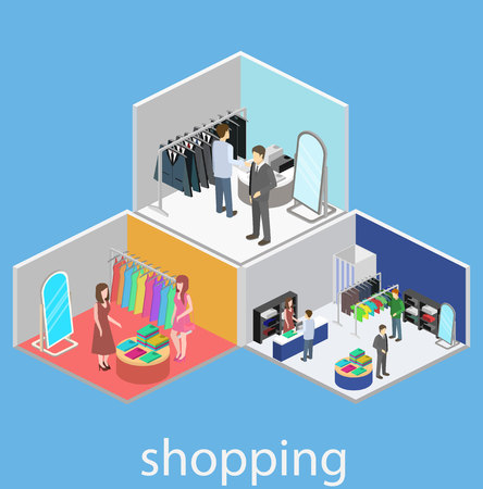 shoping: Isometric interior of shoping mall. Flat 3D vector illustration.