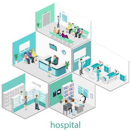 interior plana isométrica de la habitación del hospital, farmacia, consultorio médico, sala de espera, recepción. Los médicos que tratan al paciente. ilustración vectorial 3D plana Ilustración de vector