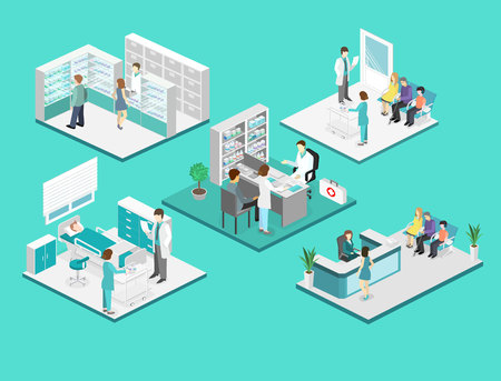 hospital patient: Isometric flat interior of hospital room, pharmacy, doctors office, waiting room, reception. Doctors treating the patient. Flat 3D vector illustration