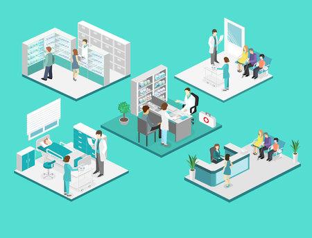 Isometrica interno piatto della stanza d'ospedale, farmacia, studio medico, sala d'attesa, reception. I medici che trattano il paziente. Piatto illustrazione vettoriale 3D
