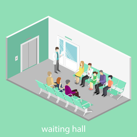 visitors: waiting room in hospital. Visitors sit on the chairs in the corridor. patient waits to receive a doctor. Flat 3D vector illustration. Illustration