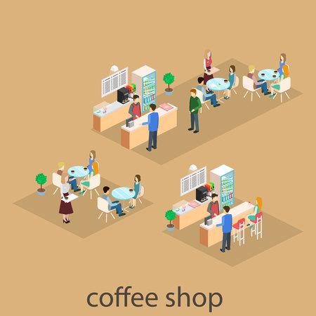 Isometric interior of coffee shop. flat 3D isometric design interior cafe or restaurant. People sit at tables and eat. Concept illustration of the room.