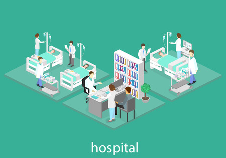 Isometric flat interior of hospital room. Doctors treating the patient. Flat 3D vector illustration Illustration